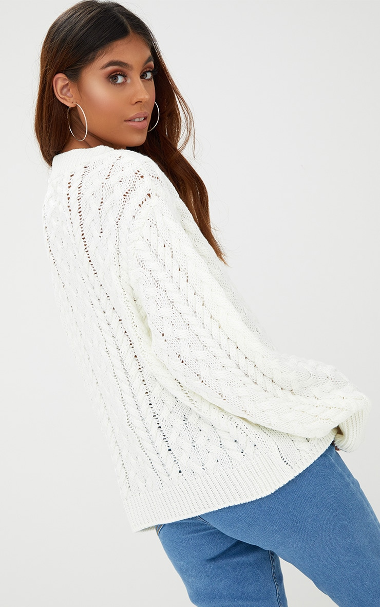 Cream Chunky Cable Knit Jumper 2