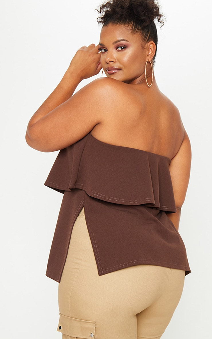 Plus Chocolate Brown Bandeau Frill Overlay Top 2