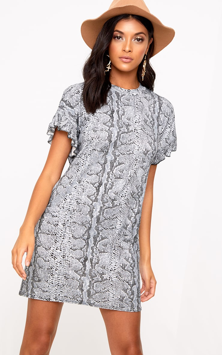 Grey Snake Frill Sleeve T Shirt Dress  1