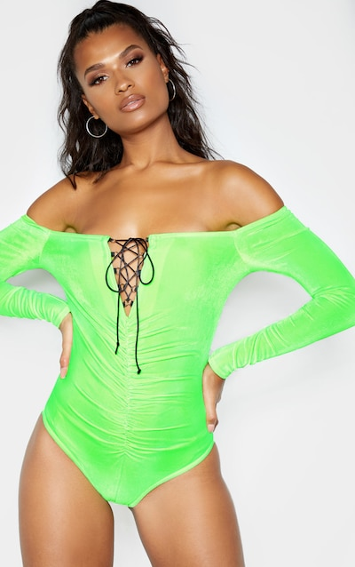 Neon Lime Velvet Lace up Ruched Bardot Bodysuit