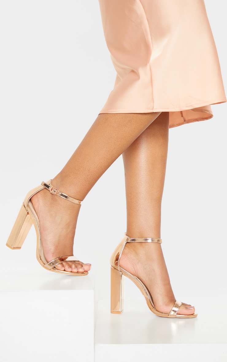 May Rose Gold Block Heeled Sandals