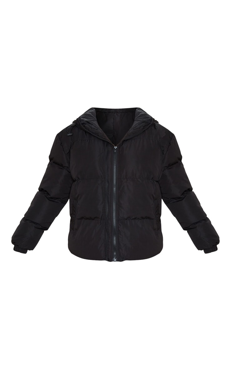 Black Hooded Zip Up Puffer Jacket 3