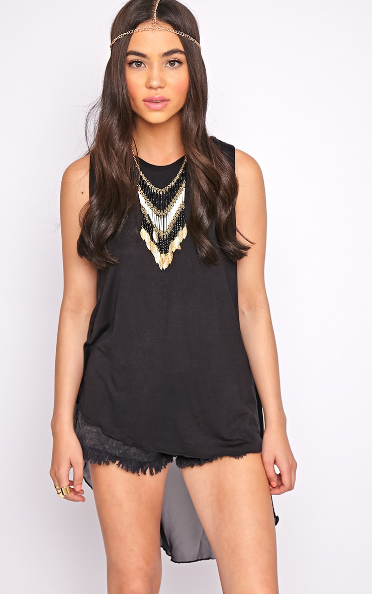 Malikah Black Dip Hem Top With Sheer Back 1