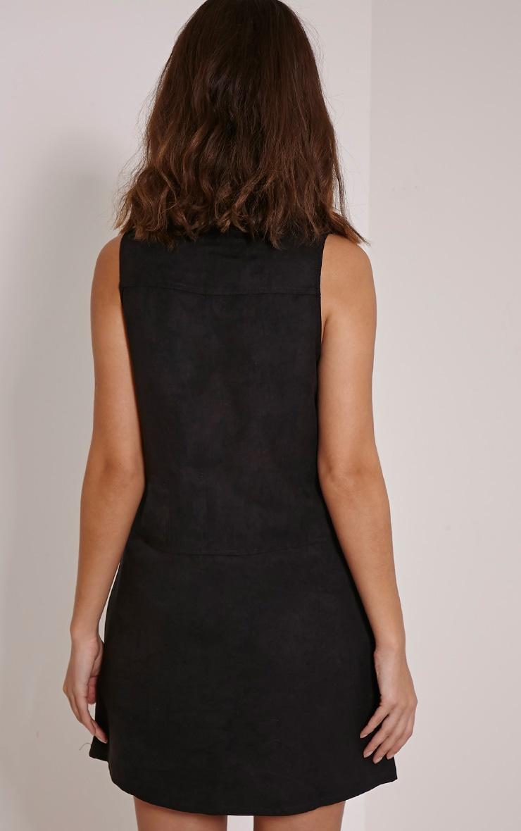 Amerie Black Faux Suede A-Line Shift Dress 2