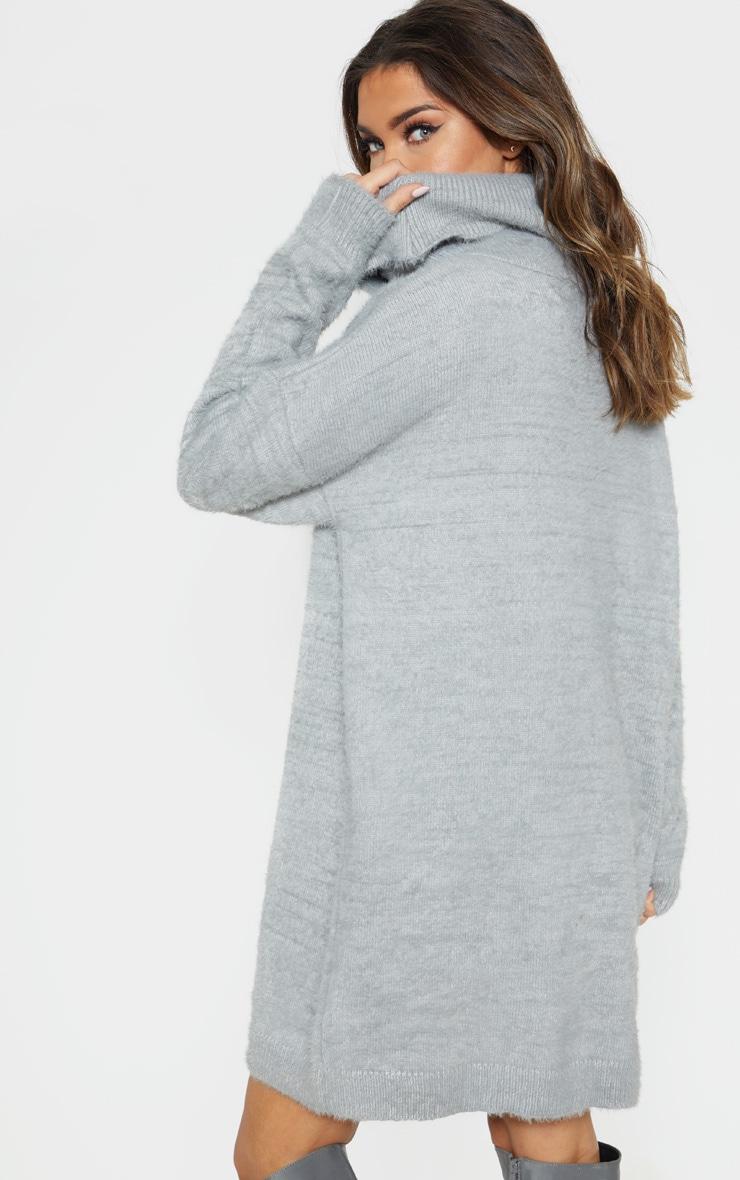Light Grey Knitted High Neck Jumper Dress  2