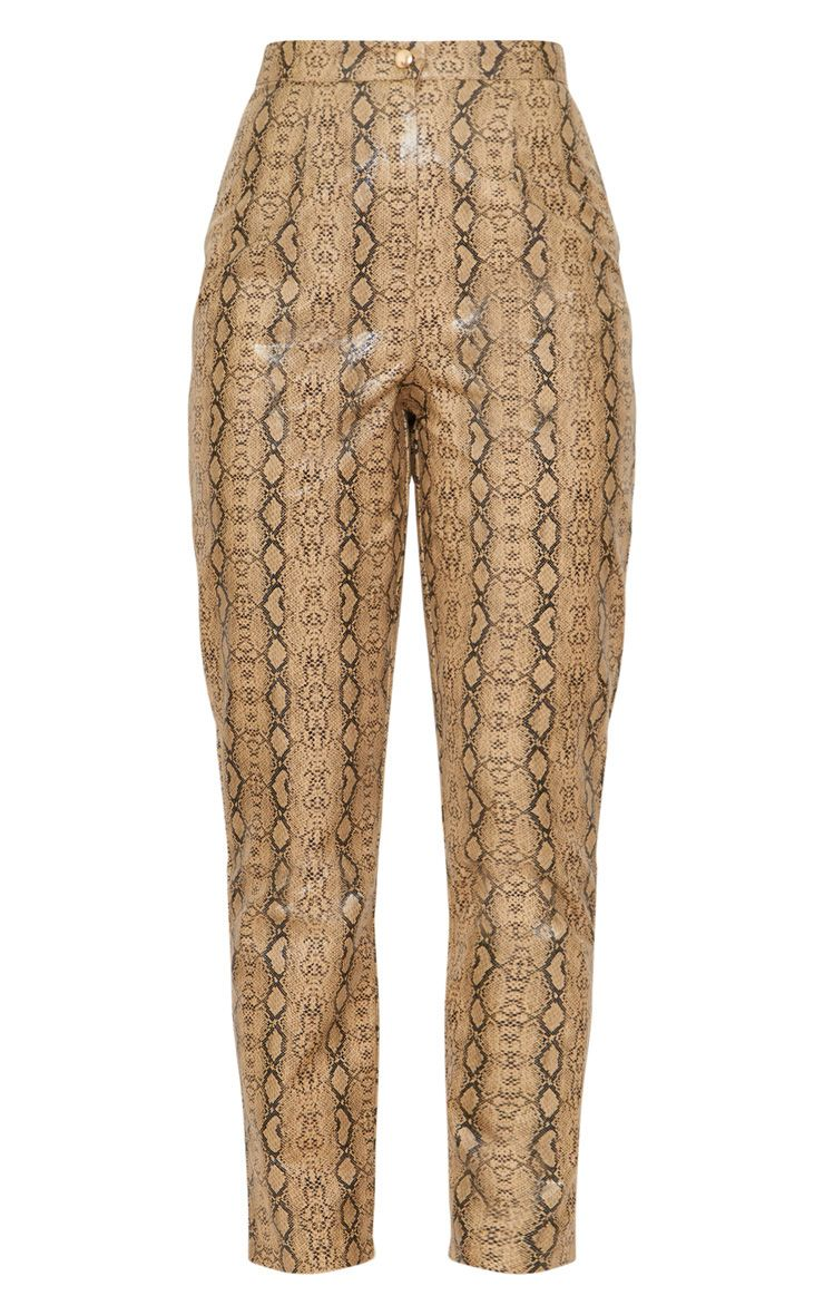 Taupe Faux Leather Snake Print Slim Leg Pants 3