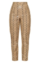 Taupe Faux Leather Snake Print Slim Leg Trousers 3