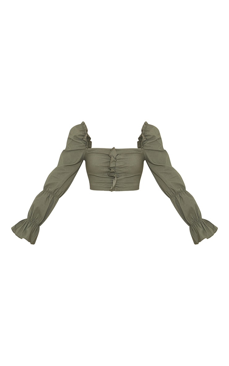 Khaki Woven Stretch Frill Ruched Front Long Sleeve Crop Top 5