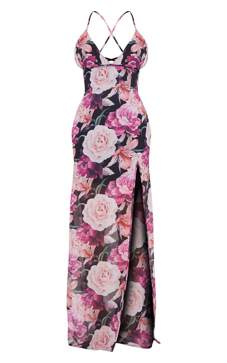 Multi Floral Print Strappy Lace Up Back Maxi Dress 5