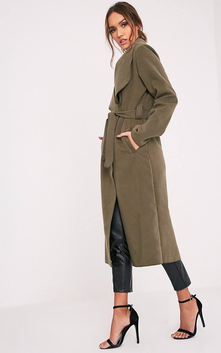 Veronica Khaki Oversized Waterfall Belt Coat 4