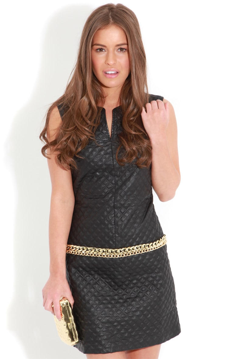Rae Black Quilted PU Dress With Gold Chain Detail 4