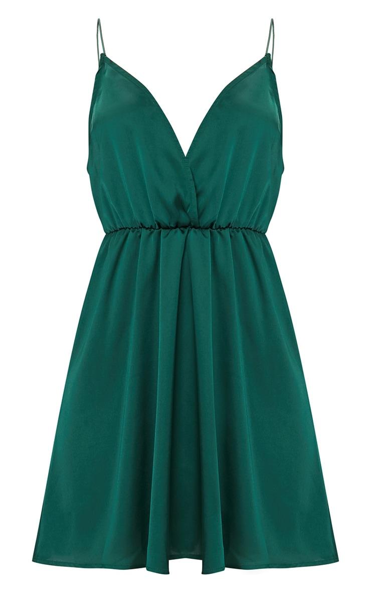 Emerald Green Satin Extreme Plunge Shift Dress 3