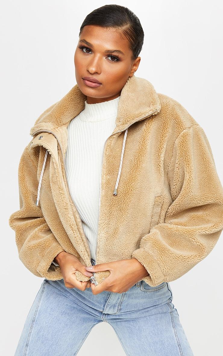 Camel Short Teddy Zip Up Jacket 1