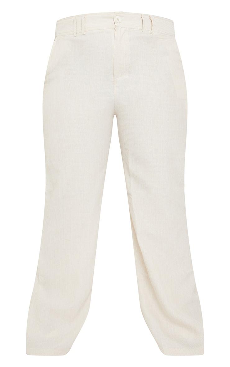 Plus Cream Woven High Waist Wide Leg Pants 5