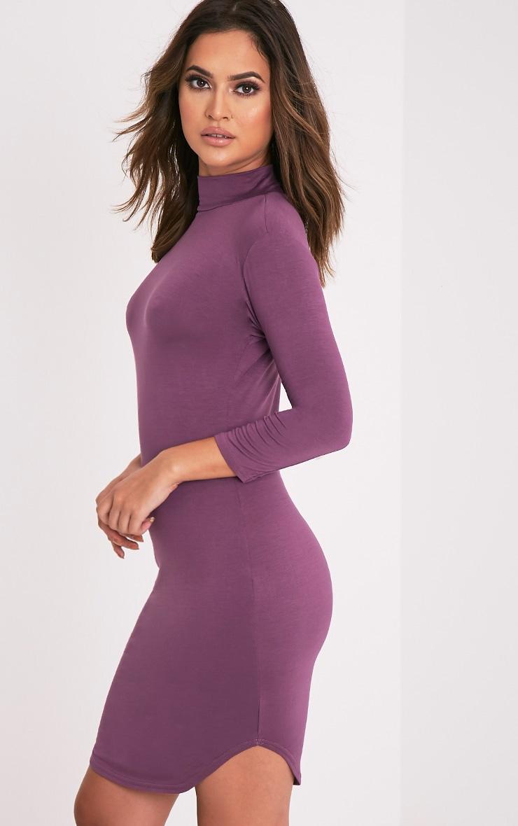 Alby Aubergine 3/4  Sleeve Curve Hem Bodycon Dress 3