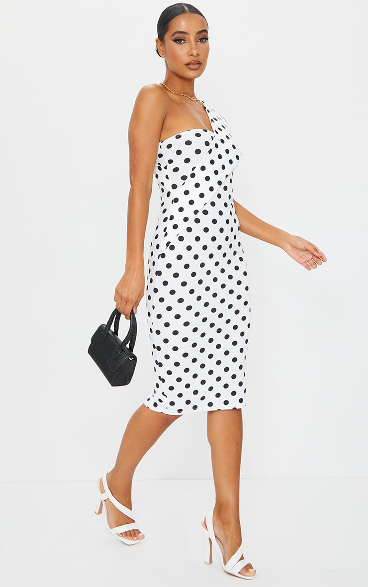 White Polka Dot Asymmetric Strap Midi Dress 3