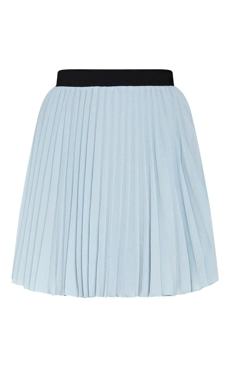 Dusty Blue  Pleated Mini Skirt 3