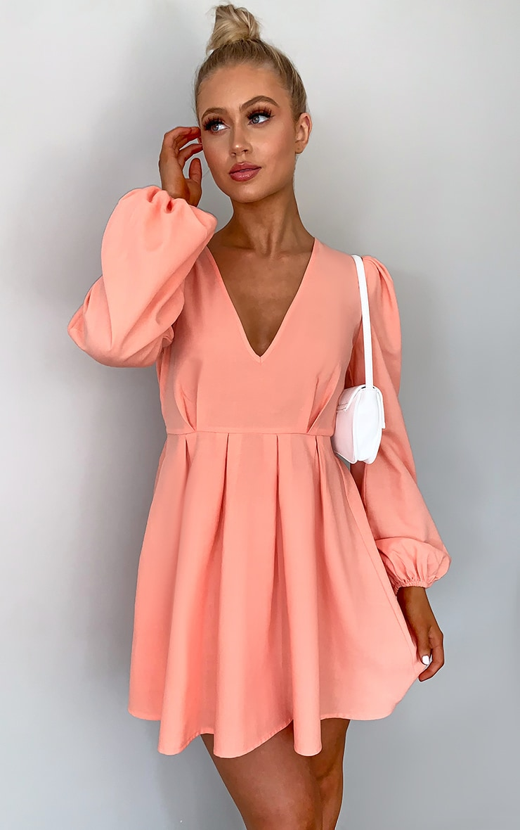 Peach Linen Mix Pleated Detail Skater Dress 3