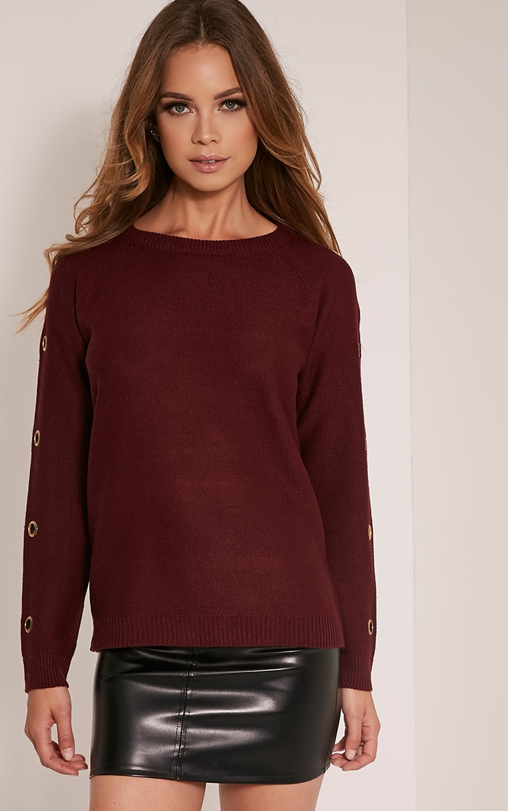 Tillie Burgundy Eyelet Sleeve Knitted Jumper 1
