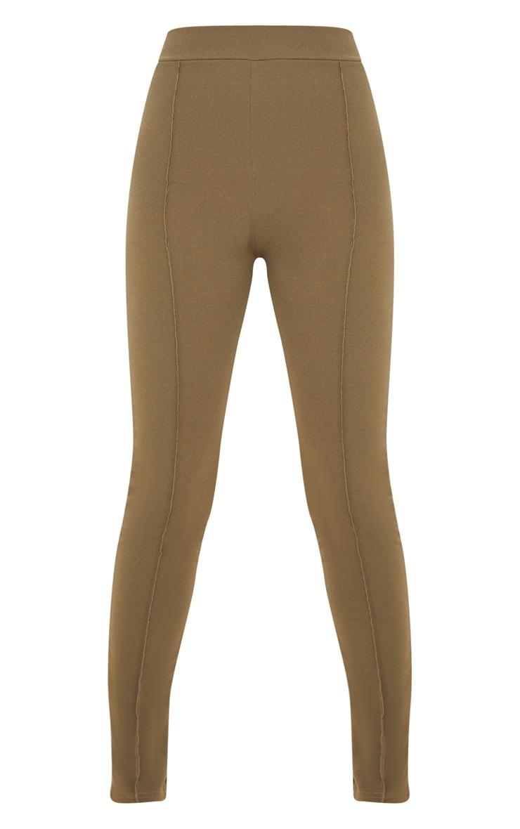 Khaki Stitch Detail Side Split Skinny Trouser 3