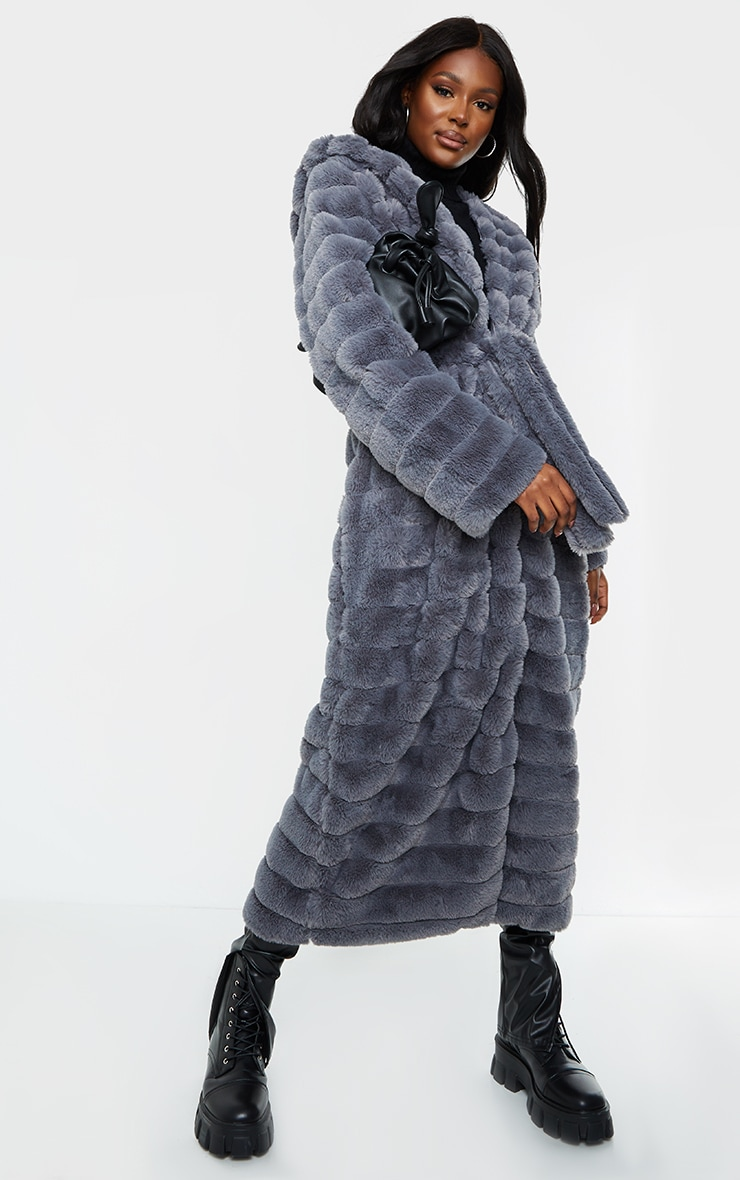 Tall Grey Maxi Bubble Faux Fur Coat 3