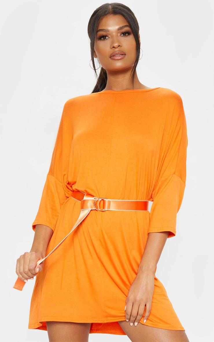 Tangerine Oversized Batwing T Shirt Dress 4