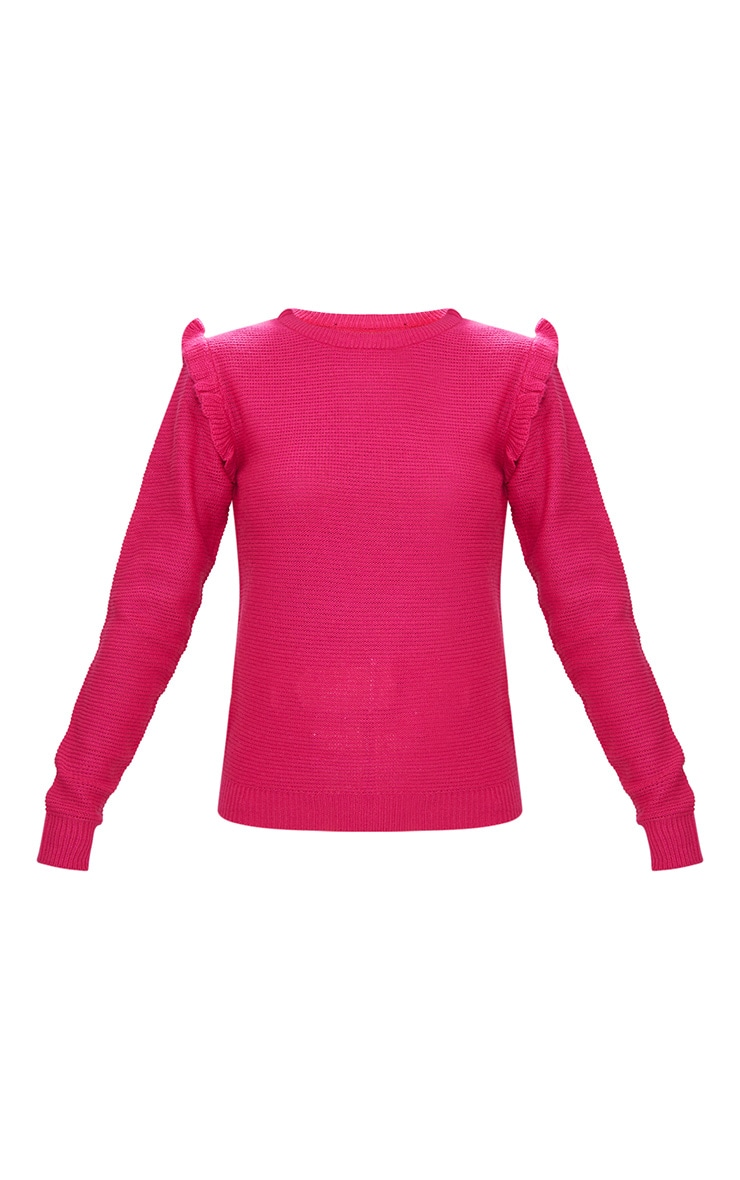 Hot Pink Frill Shoulder Jumper 3