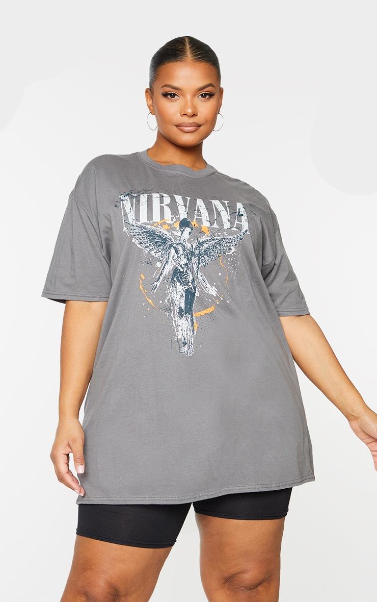 Plus Grey Nirvana Wings Print T Shirt 2
