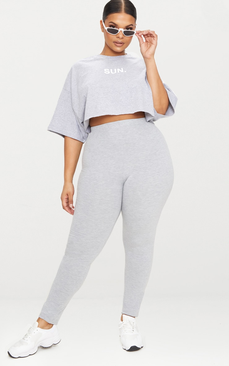 Plus legging en jersey gris 1
