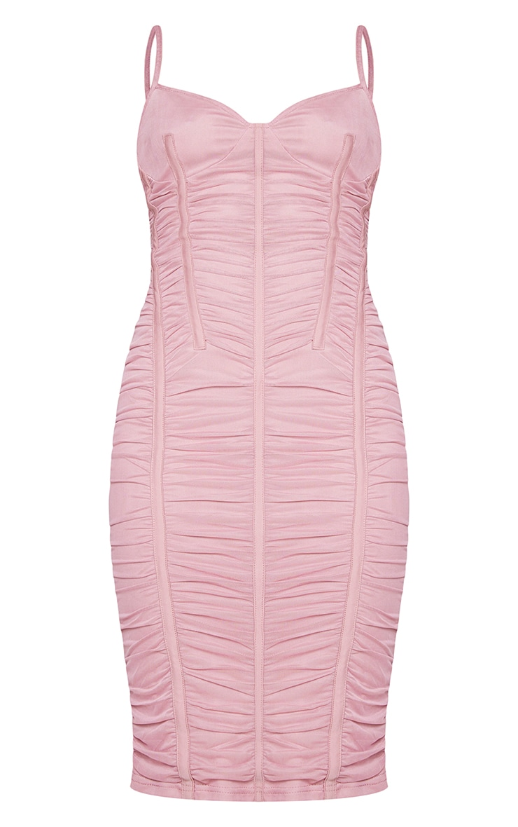 Mauve Mesh Ruched Binding Detail Strappy Midi Dress 5