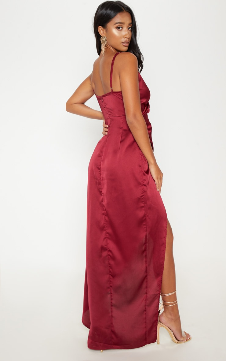 Petite Burgundy Satin Wrap Detail Maxi Dress 2