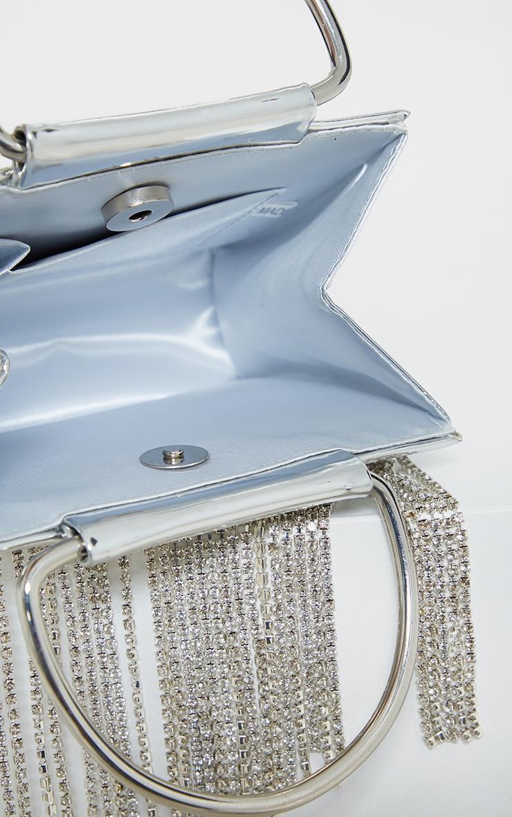 Metallic Silver Diamante Tassel Grab Bag   4