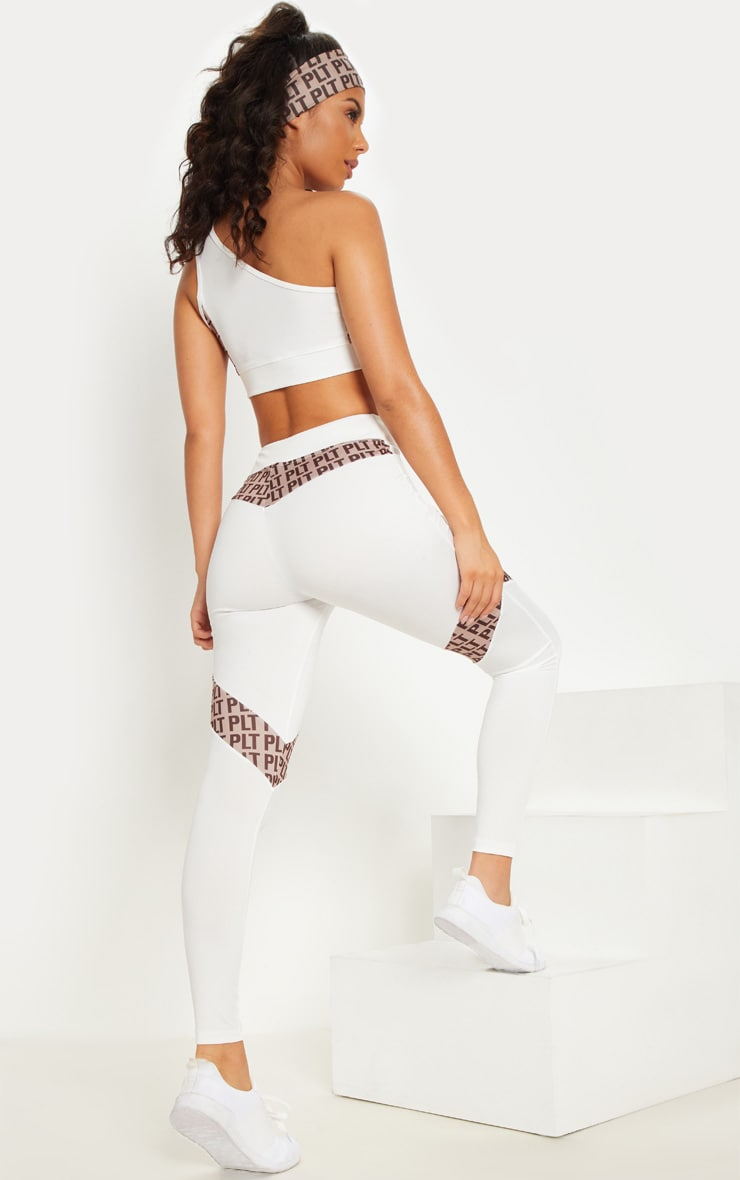PLT White Panel Cut Out One Shoulder Crop Top 3