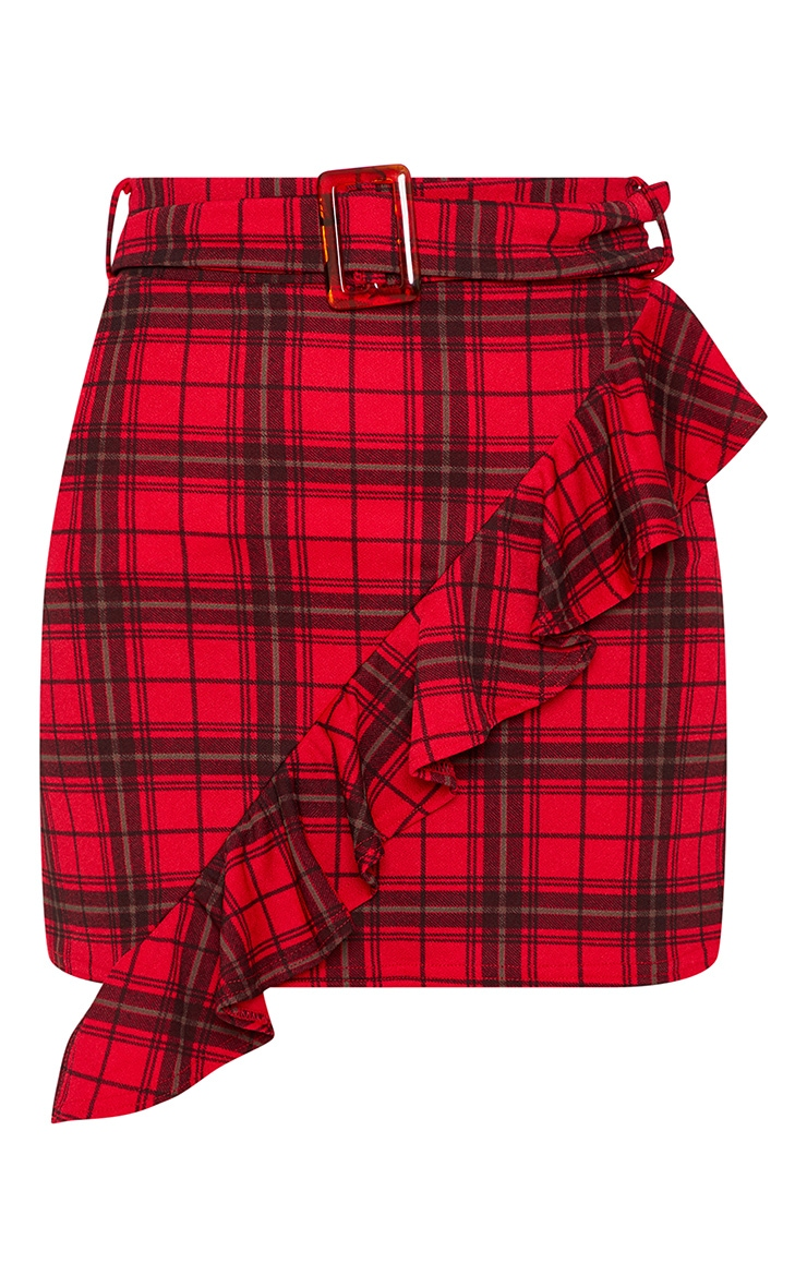 Red Tartan Check Belted Waist Frill Detail Mini Skirt 3