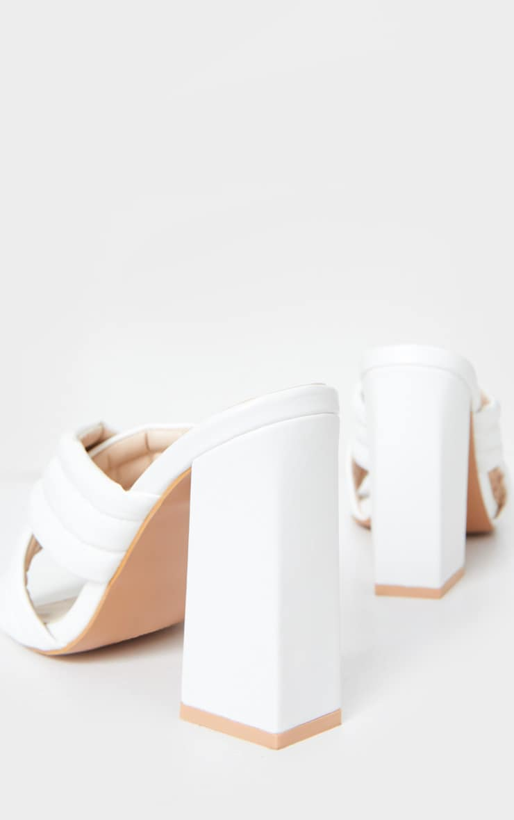 White Wide Fit Cross Strap Cushioned Mule Sandals 4