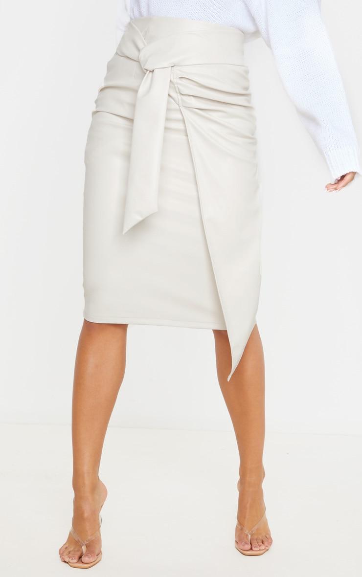 Cream Faux Leather Drape Front Midi Skirt 2