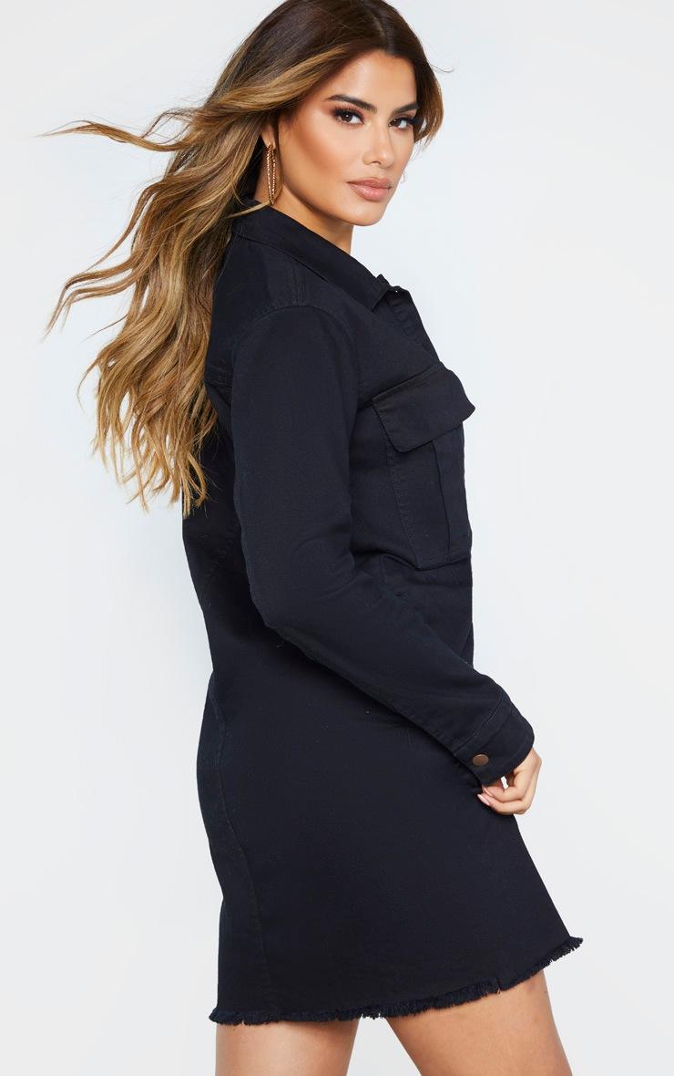 Tall Black Button Front Denim Shirt Dress 2