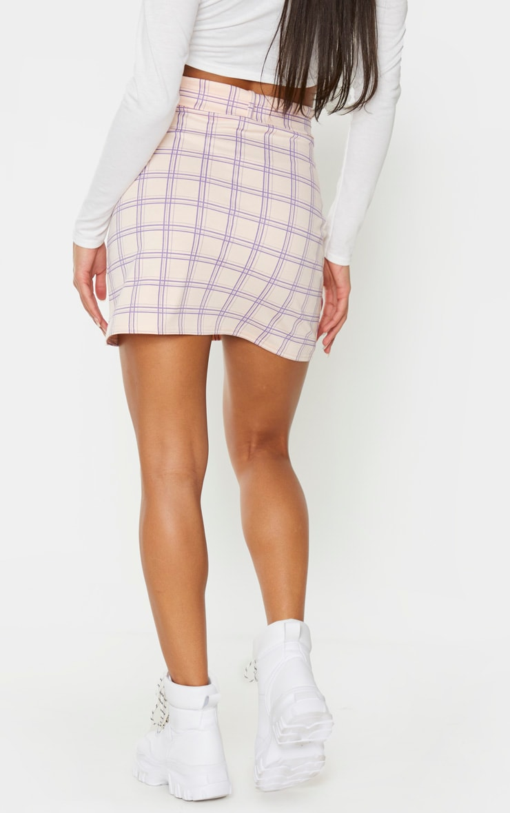Pink Check Print Belted Mini Skirt 3