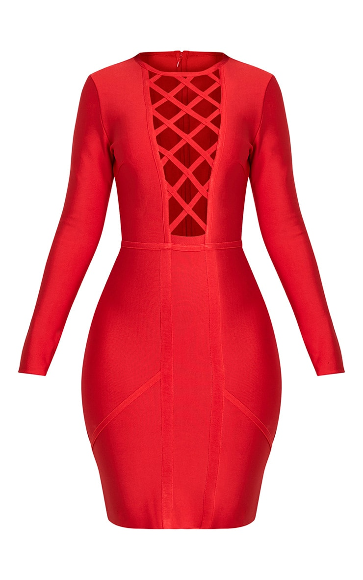 Livia Red Lattice Bandage Bodycon Dress 3