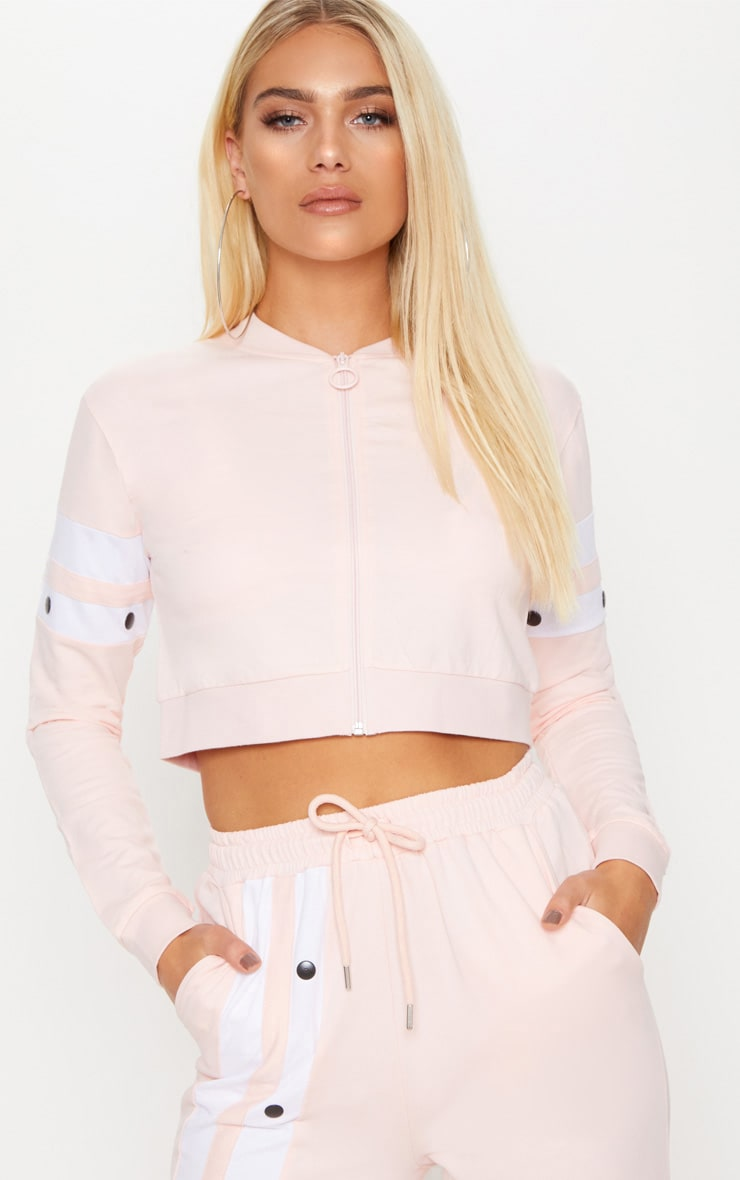 Light Pink Zip Up Crop Jacket 1