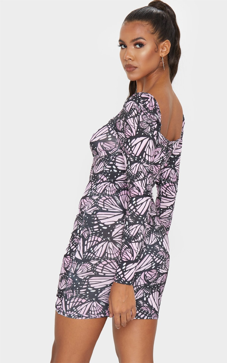 Blush Butterfly Print Ruched Front Long Sleeve Bodycon Dress 2