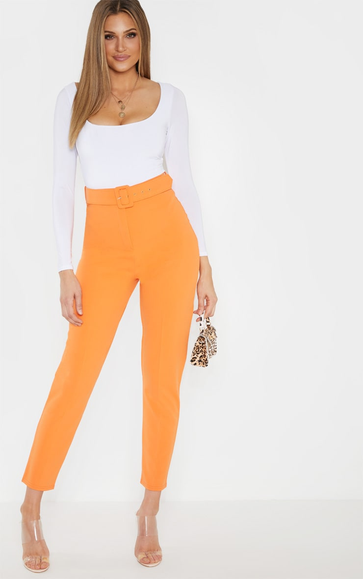 Tall Bright Orange High Waisted Belt Detail Trouser  1