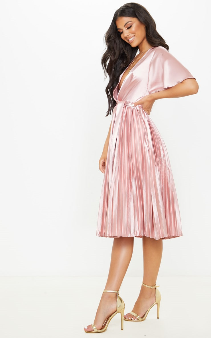Mairee Dusty Pink Satin Pleated Midi Dress 4