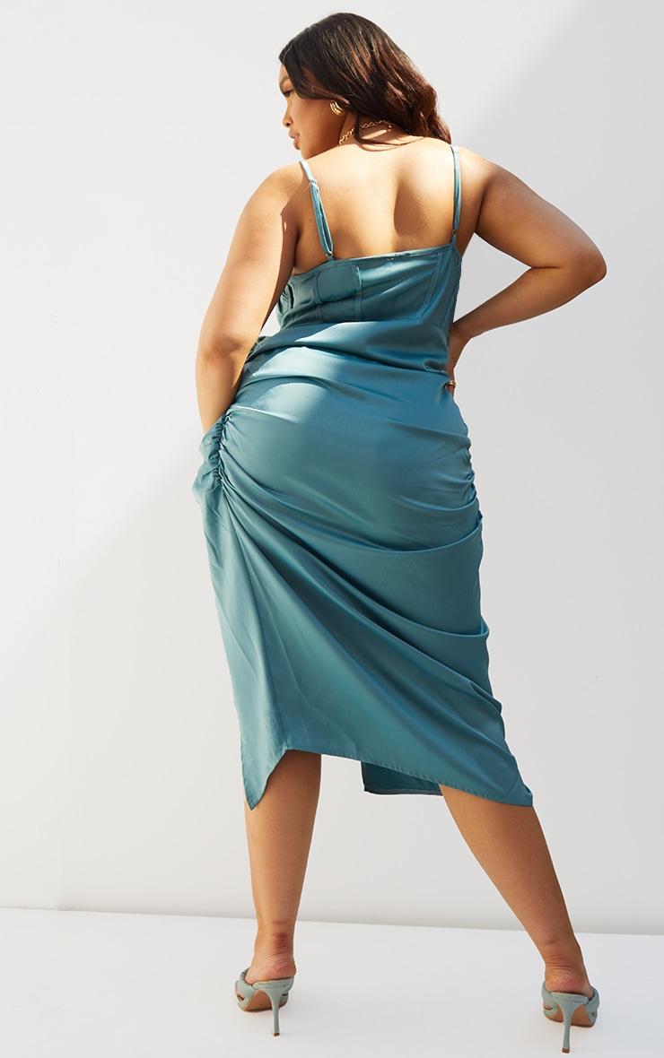 Plus Teal Satin Boned Layered Ruched Side Split Dress 2