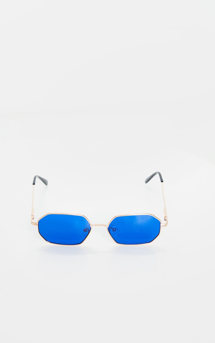 Gold Trim Blue Lens Hexagon Sunglasses 2