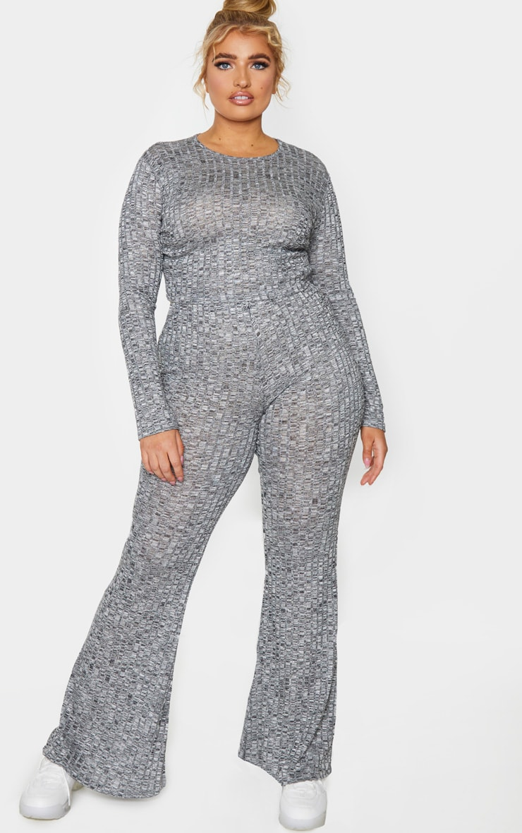 Plus Grey Knitted Rib Wide Leg Trousers 1