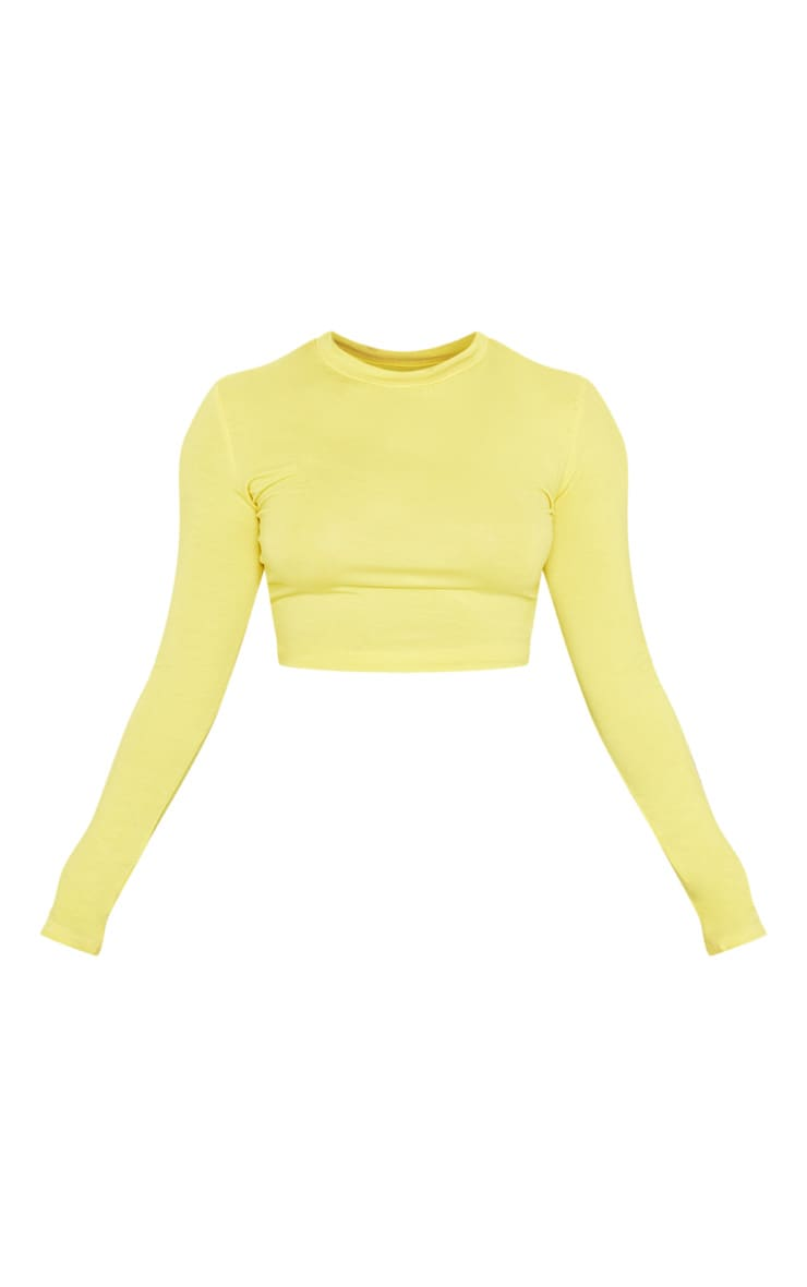 Neon Yellow Crew Neck Long Sleeve Stripe Side Top 3