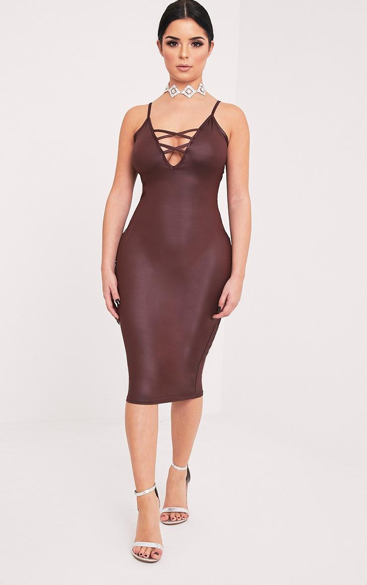 Shape Joleene Burgundy Wet Look Plunge Midi Dress  5