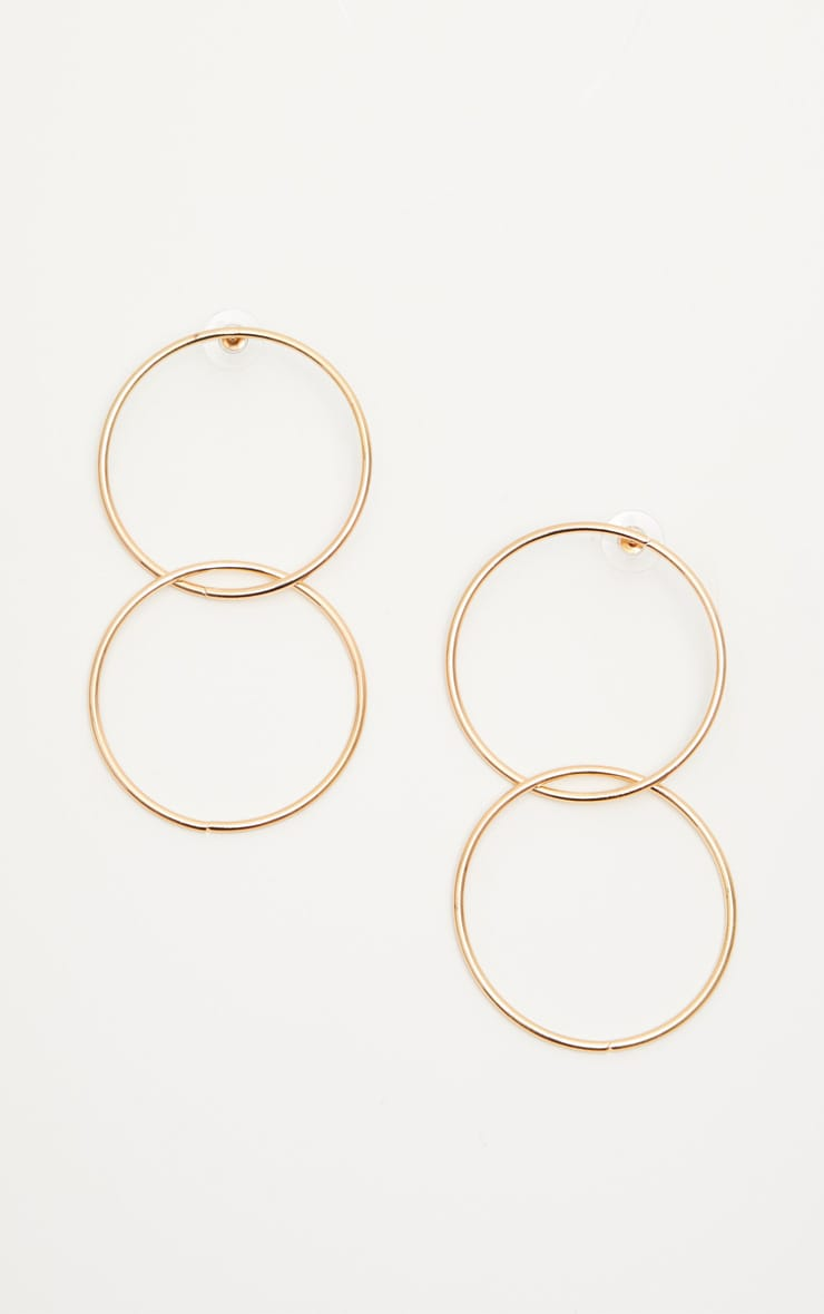 Gold Double Hoop Drop Earrings 2