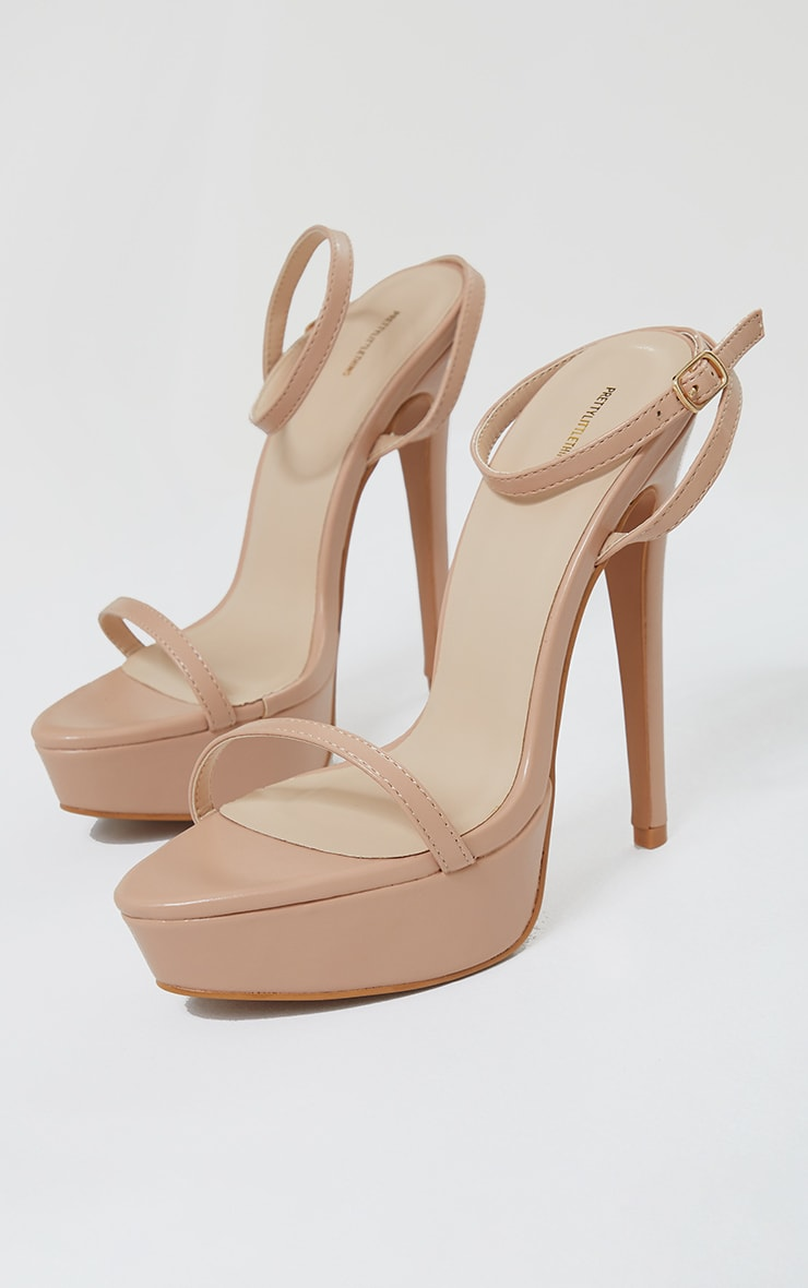 Nude Pu Platform Strappy High Heels 3